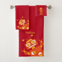 Kids Orange Red Robot Personalized Fun Bath Towel Set