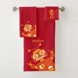 Kids Orange Red Robot Personalized Fun Bath Towel Set