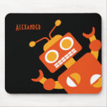 Kids Orange Robot Personalized Cool Modern Boys Mouse Pad