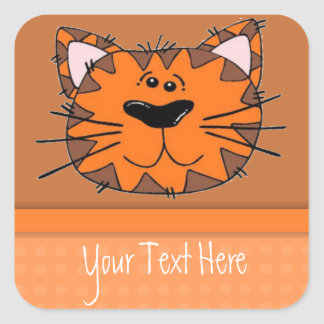 Kids Orange Tiger Stripe Cat Personalized Square Sticker