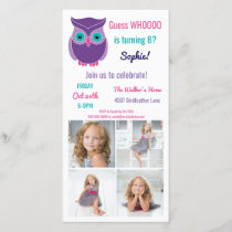 Kids Owl Birthday Party Animal  Photo Invitation