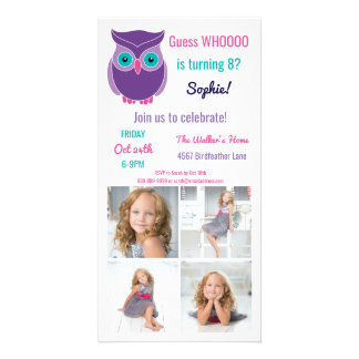 Kids Owl Birthday Party Cute Animal Custom Photo Card