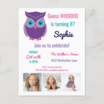 Kids Owl Birthday Party Cute Animal Custom Photo Invitation Postcard