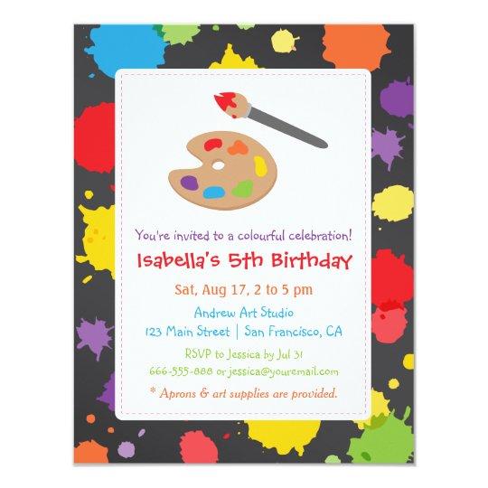 kids painting splats paint party invitations zazzle com
