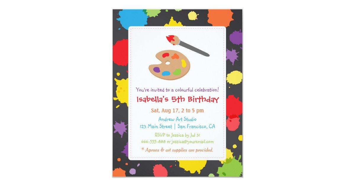 Kids Painting Splats Paint Party Invitations | Zazzle.com
