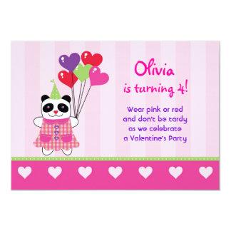 Kids Panda Valentine's Birthday Party Invitation