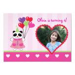 Kids Panda Valentine's Birthday Party Photo Invita 5x7 Paper Invitation Card