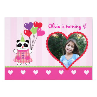 Kids Panda Valentine's Birthday Party Photo Invita Card