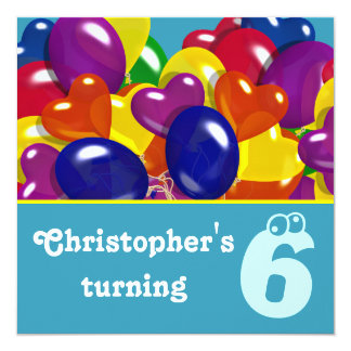 """Kids party balloons any age 5.25"""" square invitation card"""