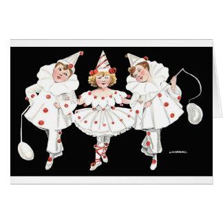 Kids Party Costume Clown Pierrot Boy Girl Card