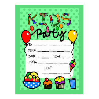 Kids Party Invitation Postcard