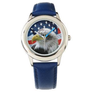 Kids Patriotic Bald Eagle American Flag Watch