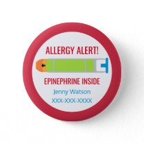 Kids Personalized Allergy Alert Epinephrine Inside Button