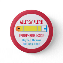 Kids Personalized Allergy Alert Epinephrine Inside Pinback Button