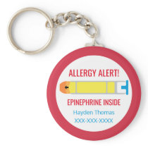 Kids Personalized Allergy Alert Epinephrine Red Keychain