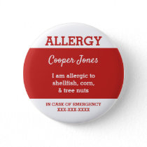 Kids Personalized Allergy I am allergic to red Button