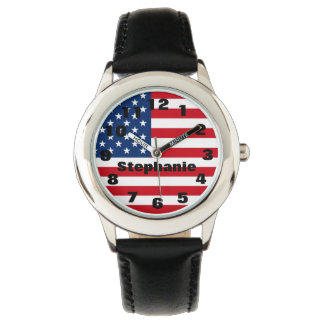 Kid's Personalized American Flag Watch