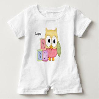 Kid's Personalized Baby Romper Owl Baby Blocks