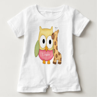 Kid's Personalized Baby Romper Owl with Giraffe