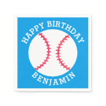 Kids Personalized Baseball Happy Birthday Sports Napkin