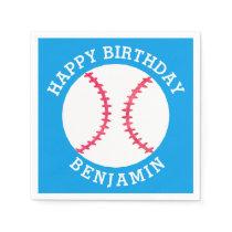 Kids Personalized Baseball Happy Birthday Sports Napkin