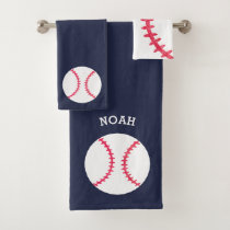 Kids Personalized Baseball Sports Blue Athletic Bath Towel Set
