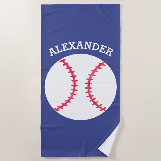 Kids Personalized Baseball Sports Blue Beach Towel