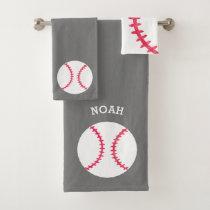 Kids Personalized Baseball Sports Gray Athletic Bath Towel Set