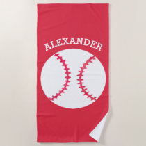 Kids Personalized Baseball Sports Red Beach Towel