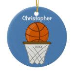 Kids Personalized Basketball Blue Ornament