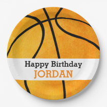 Kids Personalized Basketball Happy Birthday Orange Paper Plate