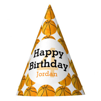 Kids Personalized Basketball Happy Birthday Sports Party Hat