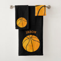 Kids Personalized Basketball Sports Black Bath Towel Set