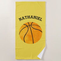 Kids Personalized Basketball Sports Orange Yellow Beach Towel