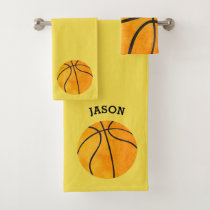 Kids Personalized Basketball Sports Yellow Bath Towel Set