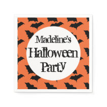 Kids Personalized Bat Pattern Halloween Party Paper Napkin