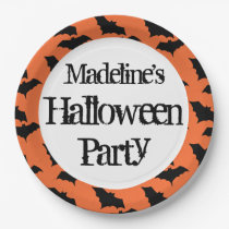Kids Personalized Bat Pattern Halloween Party Paper Plate
