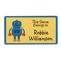Kids Personalized Blue Robot Toy Sticker