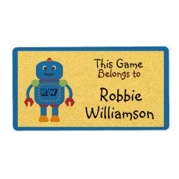 Kids Personalized Blue Robot Toy Sticker
