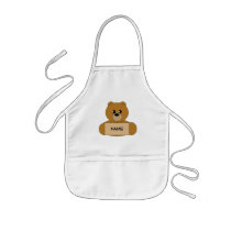 Kid's Personalized Brown Teddy Bear Apron
