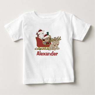 Kids Personalized Christmas Santa Sleigh Baby T-Shirt