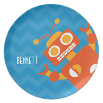 Kids Personalized Crazy Orange Robot Blue Chevron Melamine Plate