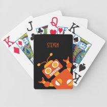 Kids Personalized Crazy Orange Robot Boys Bicycle Playing Cards