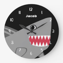 Kids Personalized Cute Gray Shark Black and White Large Clock