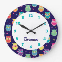 Kids Personalized Cute Owl Pattern Blue Animal Large Clock
