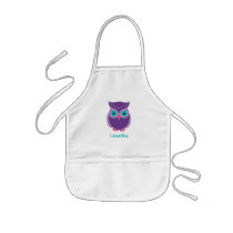 Kids Personalized Cute Purple Owl Bird Animal Kids' Apron