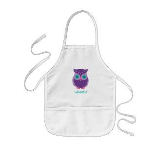 Kids Personalized Cute Purple Owl Bird Animal Kids' Apron