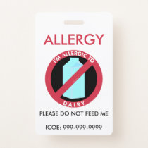 Kids Personalized Dairy Allergy Emergency Badge