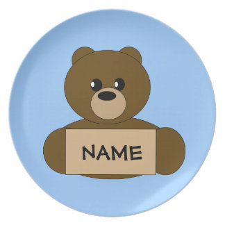Kids Personalized Dark Brown Teddy Bear Plate
