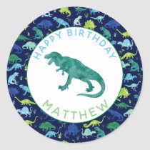 Kids Personalized Dinosaur Birthday Party Pattern Classic Round Sticker